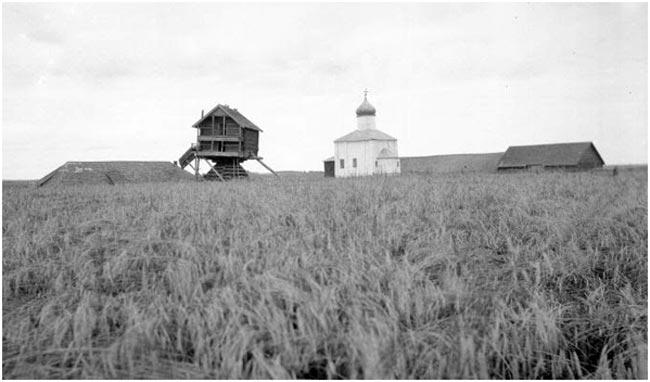 Вид на церковь и мельницу. Дореволюционное фото из архива Института истории материальной культуры РАН
